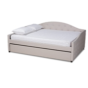 Baxton Studio Becker Modern and Contemporary Transitional Beige Fabric Upholstered Queen Size Daybed with Trundle